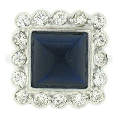 Vintage 18k White Gold 6.63ct GIA No Heat Sugarloaf Sapphire & Diamond Halo Ring