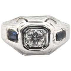 Vintage 18k White Gold and 0.12ct Round Brilliant Diamond and Sapphire Ring Size