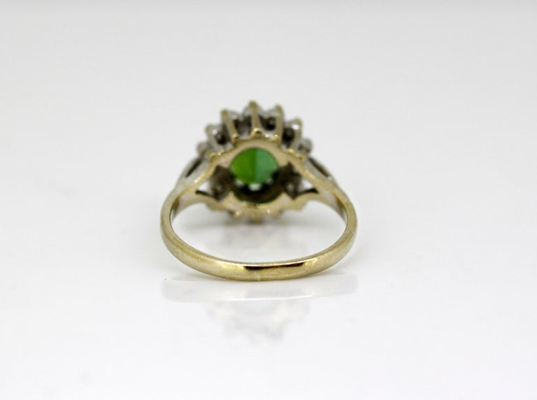 Women's Vintage 18 Karat White Gold Ladies Ring with Green Tourmaline and Diamonds, 1977 For Sale