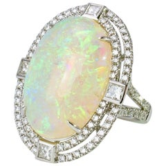 Vintage 18 Karat White Gold Opal Diamond Ring