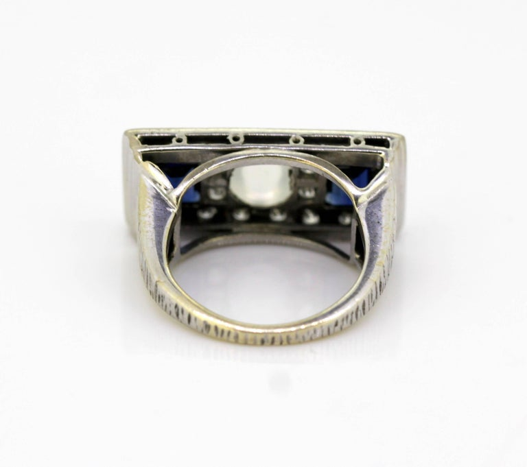 Women's or Men's Vintage 18k White Gold Ring with Moonstone, Blue Sapphire and Diamonds, 1950s For Sale