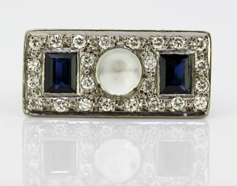 Vintage 18k White Gold Ring with Moonstone, Blue Sapphire and Diamonds, 1950s For Sale 2