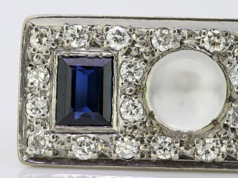 Vintage 18k White Gold Ring with Moonstone, Blue Sapphire and Diamonds, 1950s For Sale 3