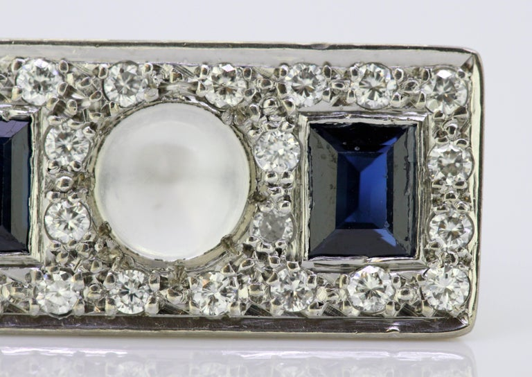Vintage 18k White Gold Ring with Moonstone, Blue Sapphire and Diamonds, 1950s For Sale 4