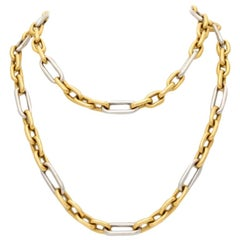 Vintage 18 Karat Yellow and White Gold Long Chain, circa 1980s