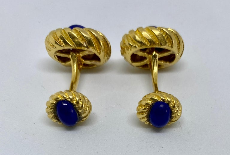 Contemporary Vintage 18k Yellow Gold and Lapis Cufflinks For Sale