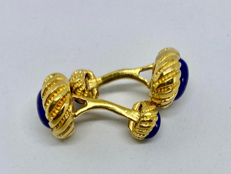Cabochon Vintage 18k Yellow Gold and Lapis Cufflinks For Sale