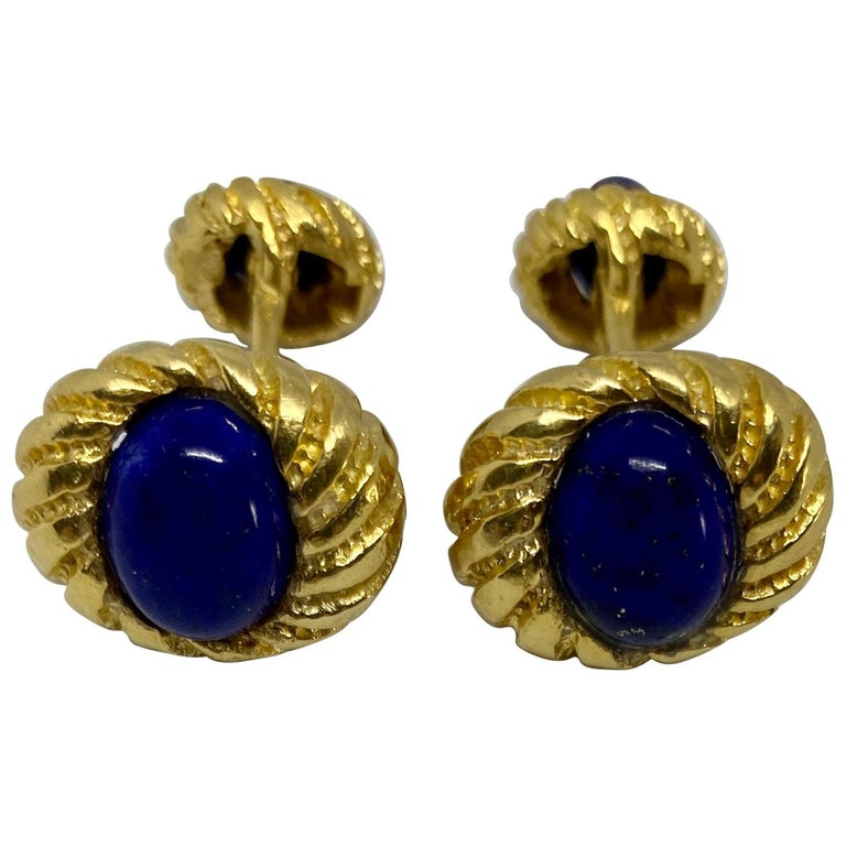 Vintage 18k Yellow Gold and Lapis Cufflinks For Sale