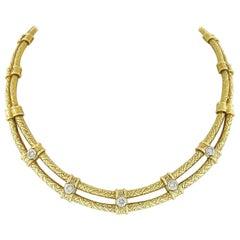 Vintage 18K Yellow Gold Bezel Diamond Hand Engraved Swirl Work Choker Necklace