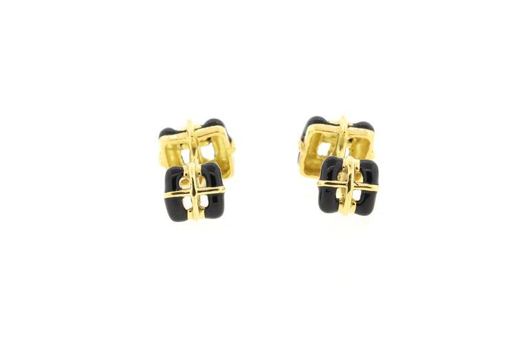 Modern Vintage 18 Karat Yellow Gold Black Enamel Tiffany & Co. Cufflinks For Sale