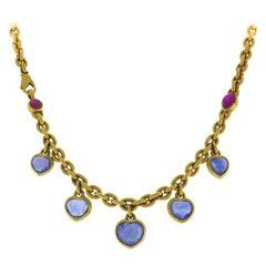 Vintage 18k Yellow Gold Chain Necklace Ruby Sapphire Ceylon AGL No Heat Estate