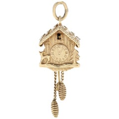 Vintage 18K Yellow Gold Coo-Coo Clock Charm / Pendant