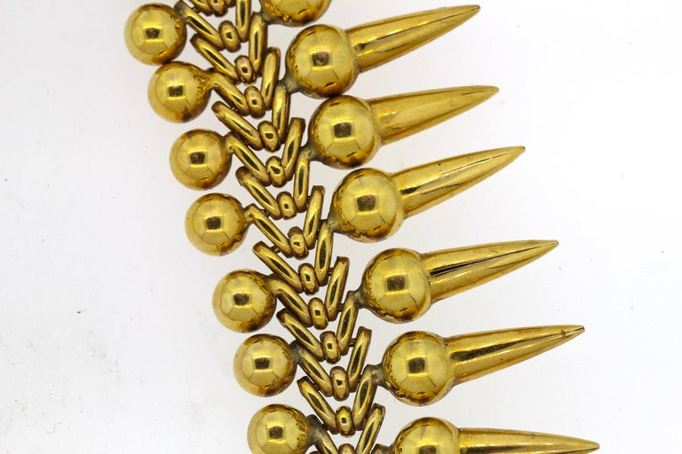 Victorian Vintage 18 Karat Yellow Gold Dart Collar Necklace For Sale