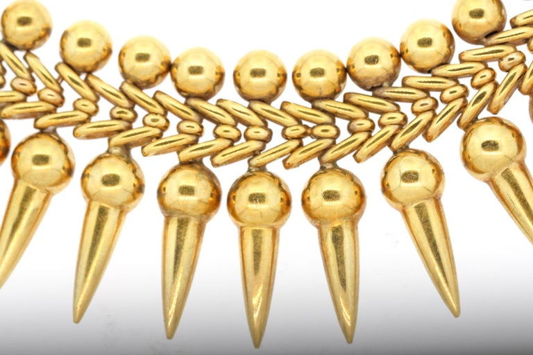 Vintage 18 Karat Yellow Gold Dart Collar Necklace In Good Condition For Sale In New York, NY