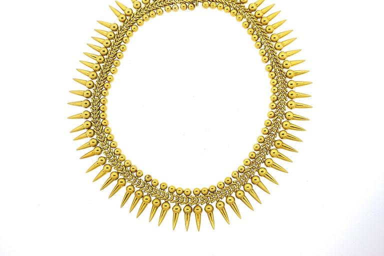 Vintage 18 Karat Yellow Gold Dart Collar Necklace For Sale 1