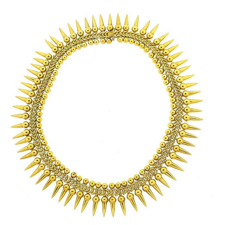 Vintage 18 Karat Yellow Gold Dart Collar Necklace For Sale 2