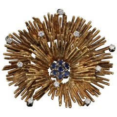 Vintage 18 Karat Yellow Gold, Diamond and Sapphire Coral Brooch Pin