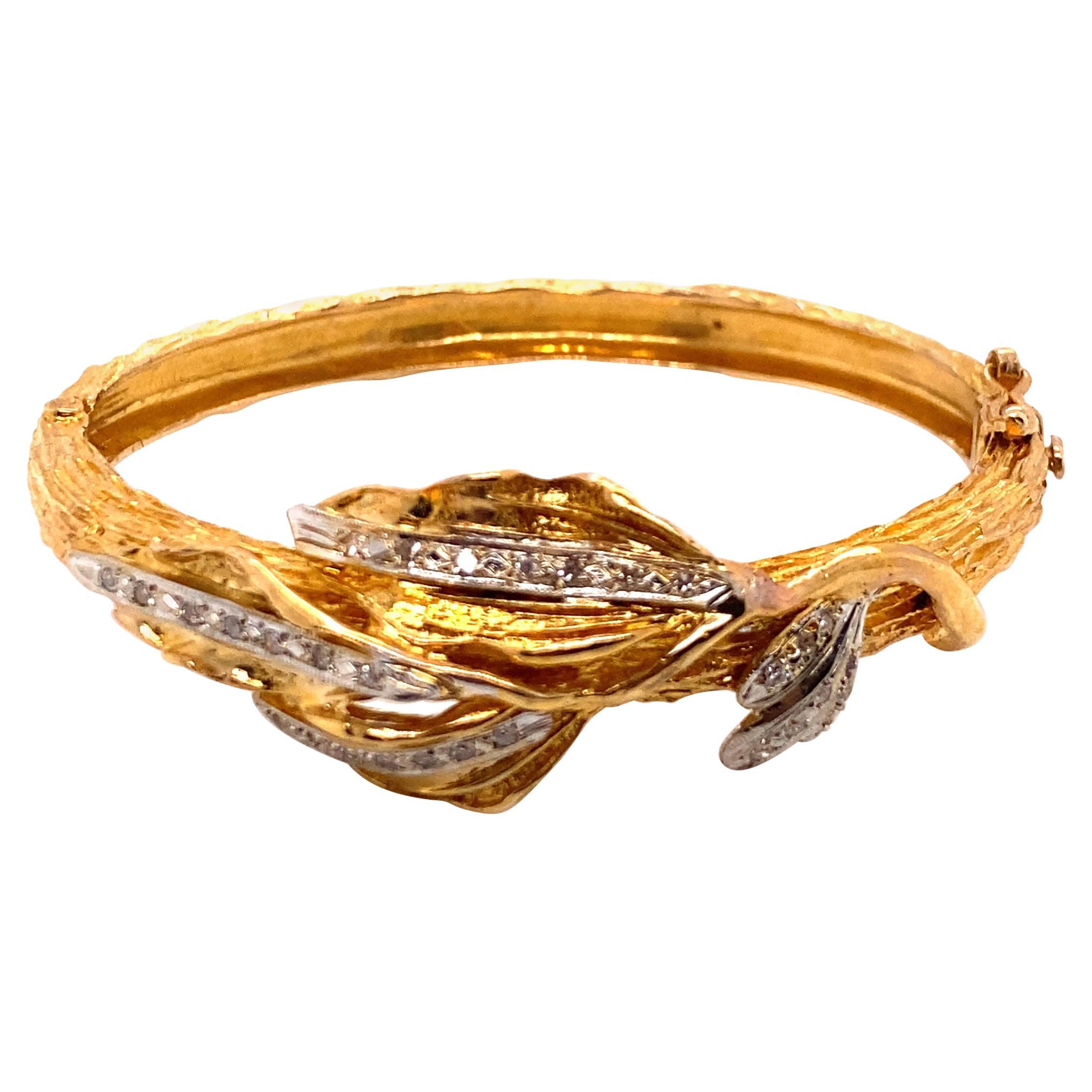 Vintage 18k Yellow Gold Diamond Leaf Bangle