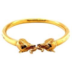 Vintage 18K Yellow Gold Elephant Bangle Bracelet