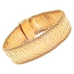 Vintage 18K Yellow Gold Floral Bracelet w/ Cable Sides