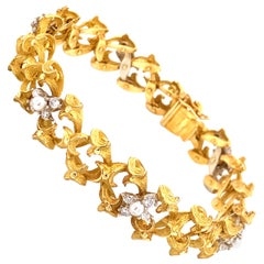 Vintage 18k Yellow Gold French Hand Made Link Bracelet with Diamonds and Pearls