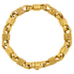 "Vintage 18k Yellow Gold ""Knot Rope"" Bracelet, Torino, Italy, circa 1950-70"