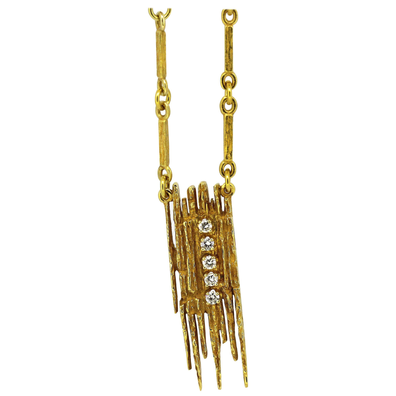 Vintage 18 Karat Yellow Gold Ladies Necklace with Pendant and Diamonds, 1970s
