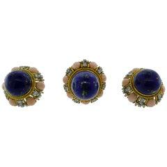 Vintage 18K Yellow Gold, Lapis, Coral & Diamond Ring & Earrings Set circa 1960s