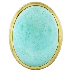 Vintage 18k Yellow Gold Large Bezel Cabochon Turquoise Solitaire Statement Ring