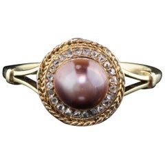 Vintage 18 Karat Yellow Gold Natural Pearl and Rose Cut Diamond Ring