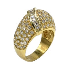 Vintage 18k Yellow Gold Pave Dome Ring, Circa 1985