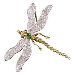 Vintage 18k Yellow Gold Platinum Diamond and Demantoid Garnet Dragonfly Pin