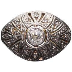 Vintage 18 Karat Yellow Gold Platinum Top Diamond Ring