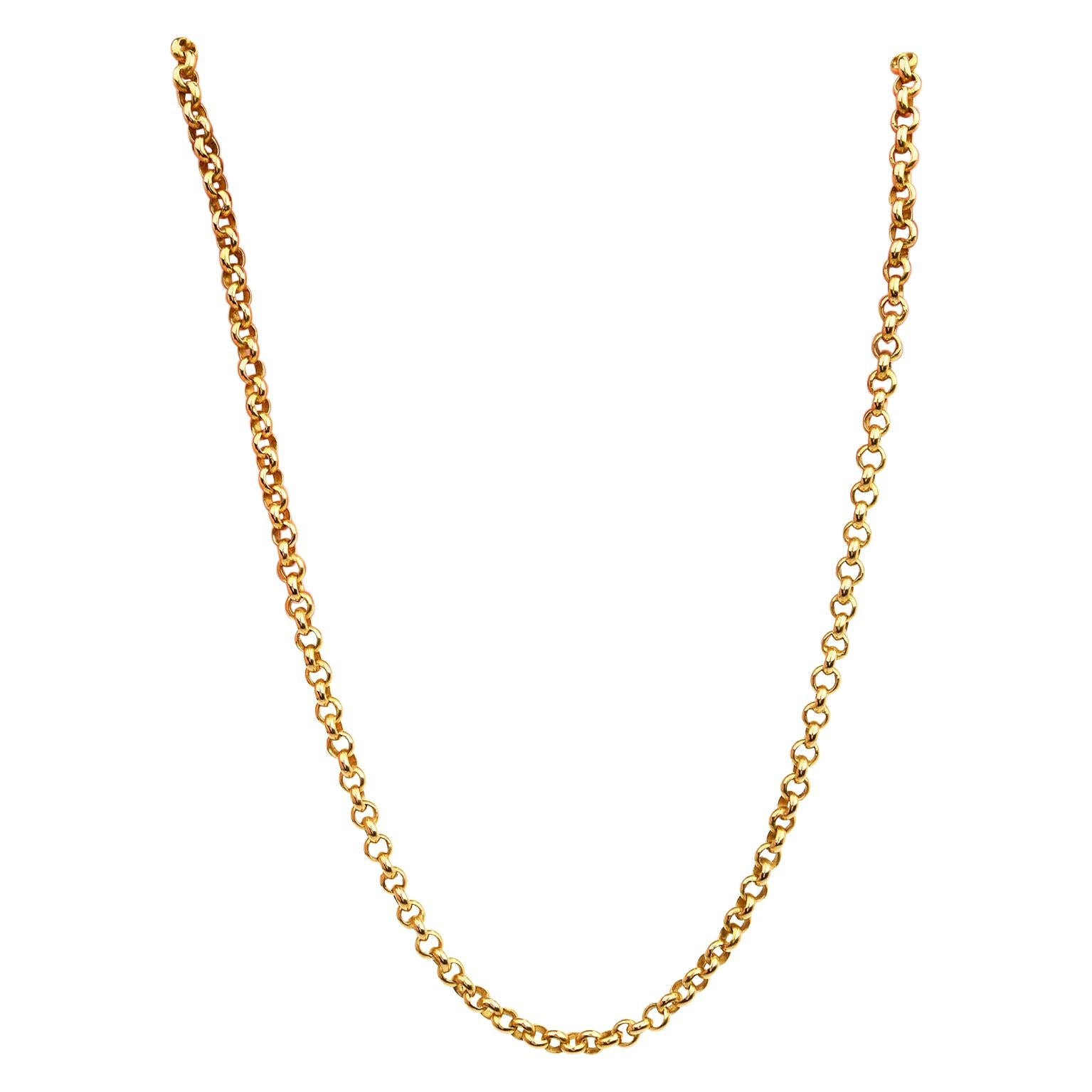 Vintage 18k Yellow Gold Round Link Chain Necklace