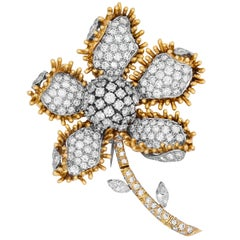 18 Karat Yellow White Gold Round and Marquise Cut Diamond Flower Brooch Pin