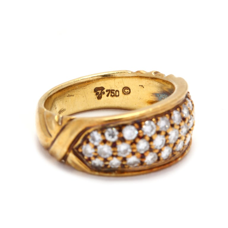 Women's or Men's Vintage 18K Yellow Gold and Diamond Band For Sale