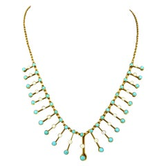 Vintage 18 Karat Gold Ladies Necklace with Turquoise and Pearls