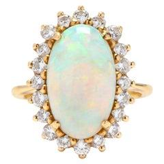 Vintage 18 Karat Gold, Opal and Diamond Ring