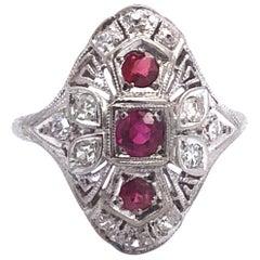Vintage 18 Karat Gold Ruby and Diamond Ring