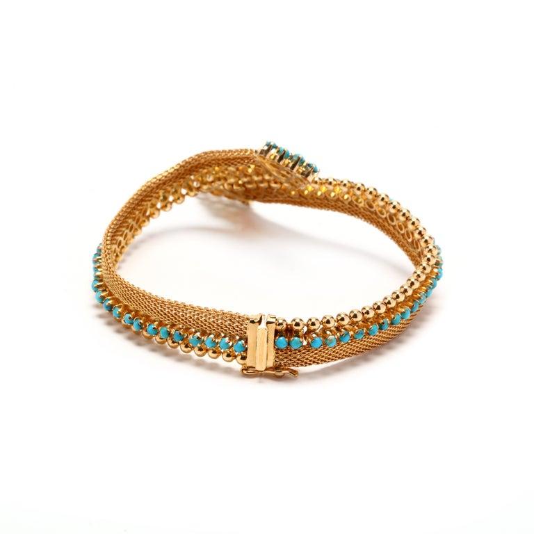 Retro Vintage 18 Karat Gold Turquoise Bracelet For Sale