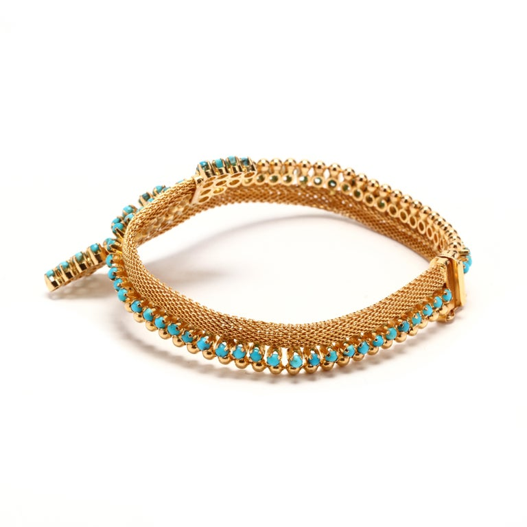Round Cut Vintage 18 Karat Gold Turquoise Bracelet For Sale