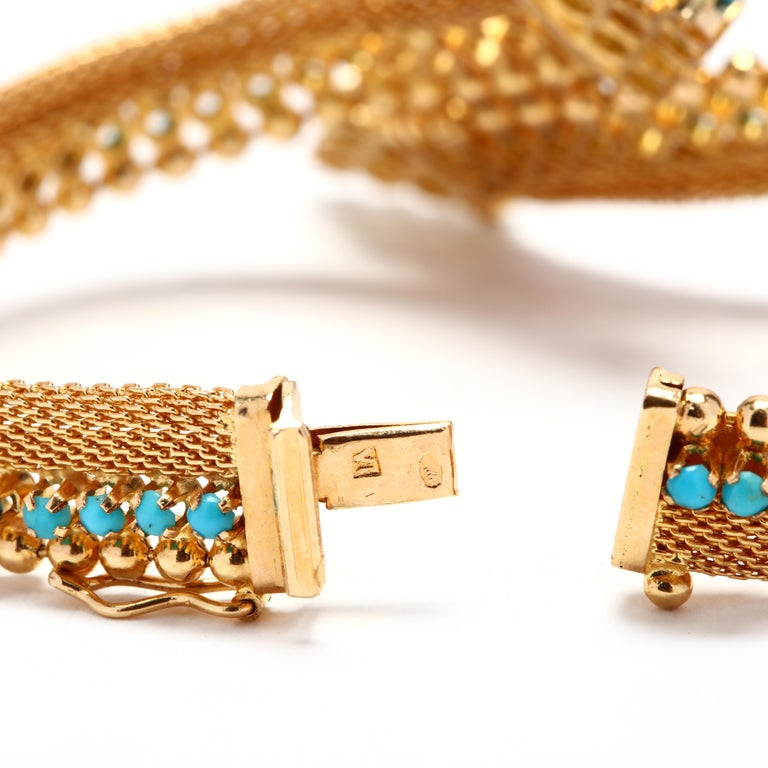 Vintage 18 Karat Gold Turquoise Bracelet In Good Condition For Sale In McLeansville, NC