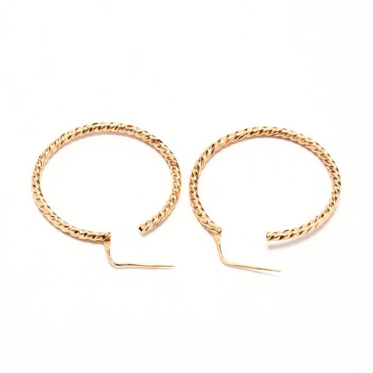 Retro Vintage 18 Karat Gold Twist Hoop Earrings For Sale