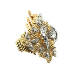 Vintage 18kt Platinum & Diamonds Cocktail Ring, 1960-70