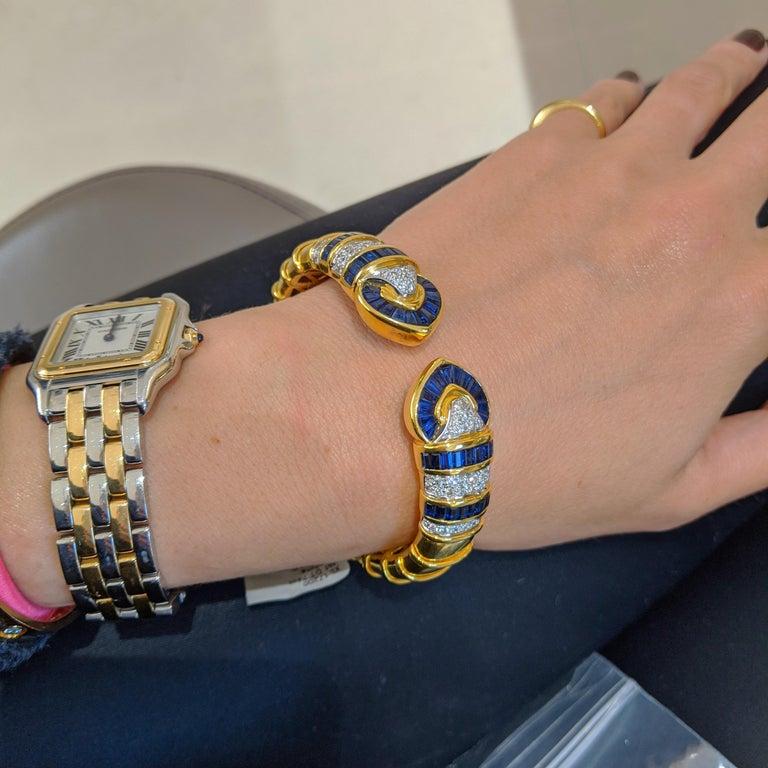 Baguette Cut Vintage 18 Karat Gold 1.74 Carat Diamond and 9.87Ct. Blue Sapphire Cuff Bracelet For Sale
