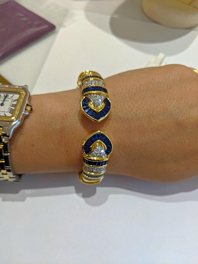 Vintage 18 Karat Gold 1.74 Carat Diamond and 9.87Ct. Blue Sapphire Cuff Bracelet For Sale 1