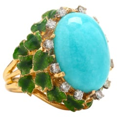 Vintage 18 Karat Yellow Gold Amazonite and Diamond Enamel Ring