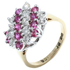 Vintage 18kt Yellow Gold Ladies Cluster Ring with Diamonds and Rubies
