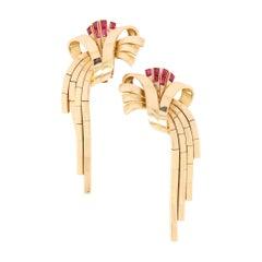 Vintage 18kt Yellow Gold Ladies Earrings with Rubies