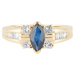 Vintage 18kt Yellow Gold Marquise Sapphire and Diamond Ring